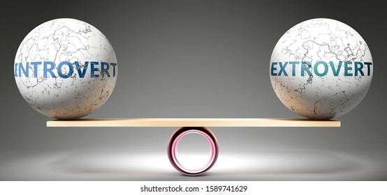 Introvert and extrovert in balance - pictured as balanced balls on scale that symbolize harmony and equity between Introvert and extrovert that is good and beneficial., 3d illustration