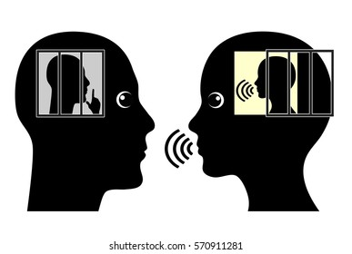 Introvert and Extrovert. Different character traits of man and woman, introversion versus extroversion