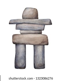 Inuksuk watercolour drawing. Traditional man-made stone landmark used by Inuit and other native peoples of Arctic region of North America, northern Canada, Greenland, Alaska. Cutout clipart element.