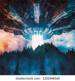 The invasion begins / 3D illustration of science fiction scene with giant alien spaceship hovering in the sky over wooded mountain landscape at night