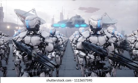 invasion of military robots. Dramatic apocalypse super realistic concept. Future. 3d rendering.