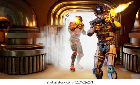 Invasion of military soldiers-astronauts. Dramatic super realistic concept. 3D Rendering