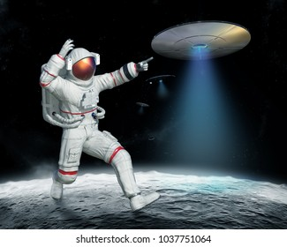 invasion of UFO on the Moon, 3D illustration