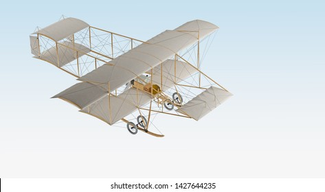 invention first aircraft isolated on white. 3d rendering