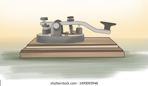Invention of Telegram. Telegraph key.Vector illustration. Old morse key isolated on table (tr:  telgrafın icadı , ilk telgraf çizimi)