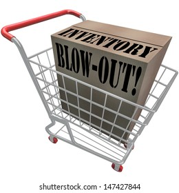 Inventory Blow-Out words on a cardboard box in a shopping cart to illustrate special discount sale or clearance event at a store or warehouse excess products overstocked