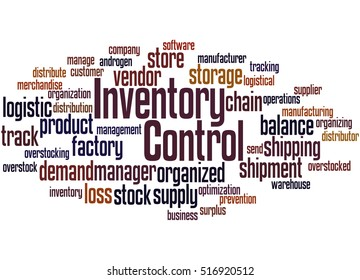 Inventory Control, word cloud concept on white background.