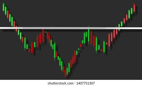 Inverted Head and Shoulders Stock Chart Pattern 3D Illustration