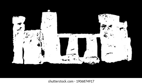 Inverted for printing on black: Stonehenge artist rendering of the stone circle, in black and white historic stone circle