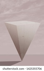 Inverted pyramid against grey sky