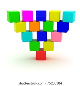 Inverted pyramid from toy cubes