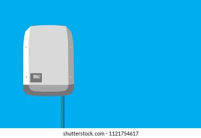 Inverter in flat design -  Solar Energy Equipment Concept Image.