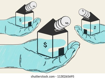 Invest money in housing purchase. Conceptual and minimalist illustration. Abstract business and economy concept. Shows hands holding houses for sale and money. Blue.