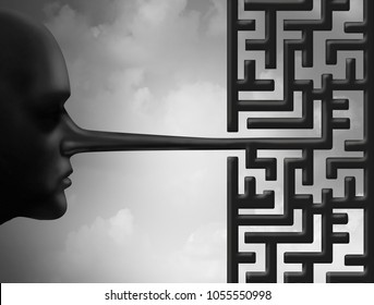 Investigate fraud and corruption concept as a liar with a long nose shaped as a maze or labyrinth as a criminal challenge in a 3D illustration style.