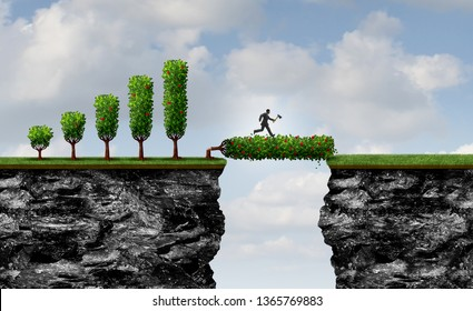 Investing for future business as a no pain no gain metaphor as an entrepreneur businessman chopping down a profit tree to form a bridge as a leveraging symbol with 3D illustration elements.