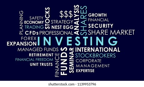 Investing and share market related words animated text word cloud, dark blue background.