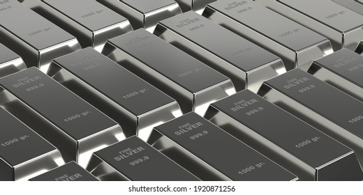 Investment, banking, business concept: 3d rendering silver bars on brick wall background. Flat layer of many shiny ingots. Treasure blocks for wealth and investment. Financial profit in stock markets.