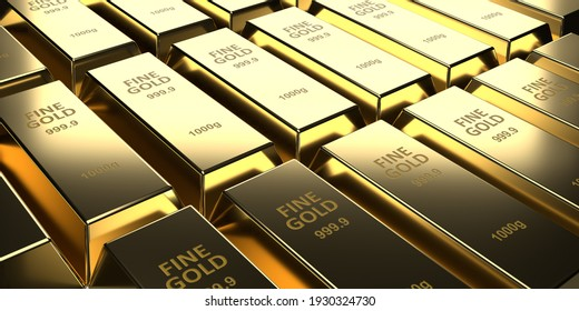 Investment, banking and business concept: 3d rendering fine gold bars on brick wall background. Many shiny ingots. Treasure blocks for wealth and investment