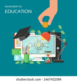 Investment in education concept flat illustration. Computer, academic graduation cap, hourglass, desk lamp, stationery, hand holding dollar coin. Investing in company staff education poster.