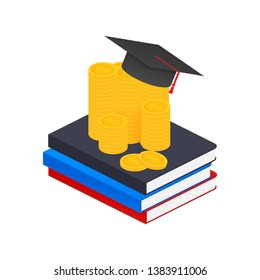 Investment in education. Scholarship. Books. Graduate's cap on stack golden coin.  stock illustration.