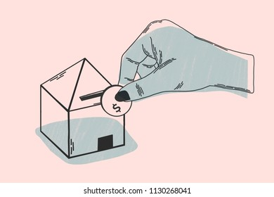 Investment of home purchase. Minimalist illustration concept. It shows metaphor of investment, with hand introducing currency in a household piggy bank. Salmon and black colors.