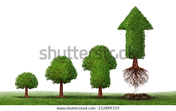 Investment maturity success as a business concept for growing wealth as a small tree gradually turning into a mature flying arrow plant as a financial metaphor for a successful investing on white.