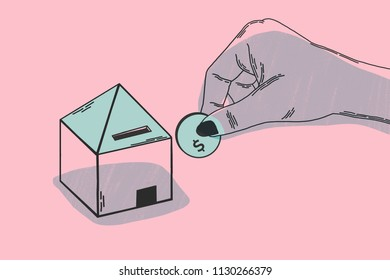 Investment of money in a new home. Minimalist illustration concept. It shows metaphor of investment, with hand introducing currency in a household piggy bank. Pink and black colors.