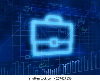 Investment portfolio symbol on finance background