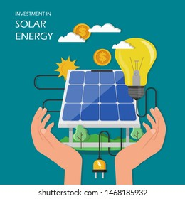 Investment in solar energy concept illustration. Human hands holding solar panel with dollar coin and light bulb connected to solar panel. Flat style design element for poster banner etc.