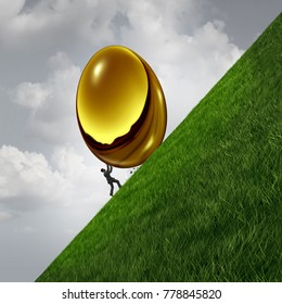 Investment struggle as a business sisyphus metaphor as a businessman pushing a heavy golden egg up a hill as financial challenge symbol with 3D illustration elements.
