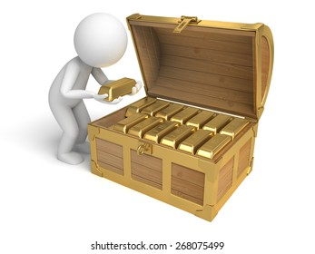 investment/A 3d people with  a treasure chest. 3d image. Isolated white background