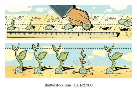 Investments. A man puts dollar coins into the ground. Germination of coins and profit.