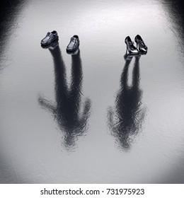 Invisible Couple feeling upset to each other standing on the wet floor. 3d Rendering. Create your own reality, DIY. Healthy lifestyle concept. Missing Lost, sacrifice, victim persons. Outcast person.