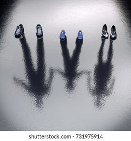 Invisible Family standing on the wet floor. 3d Rendering. Create your own reality, DIY. Healthy lifestyle Job Office concept. Missing Lost, sacrifice, migrants, victim persons.