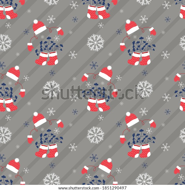 Invisible New Year silhouette, in boots with branches, hat and mittens, gray. Christmas, seamless pattern on a striped diagonal back. Decorative festive background for printing on various goods.