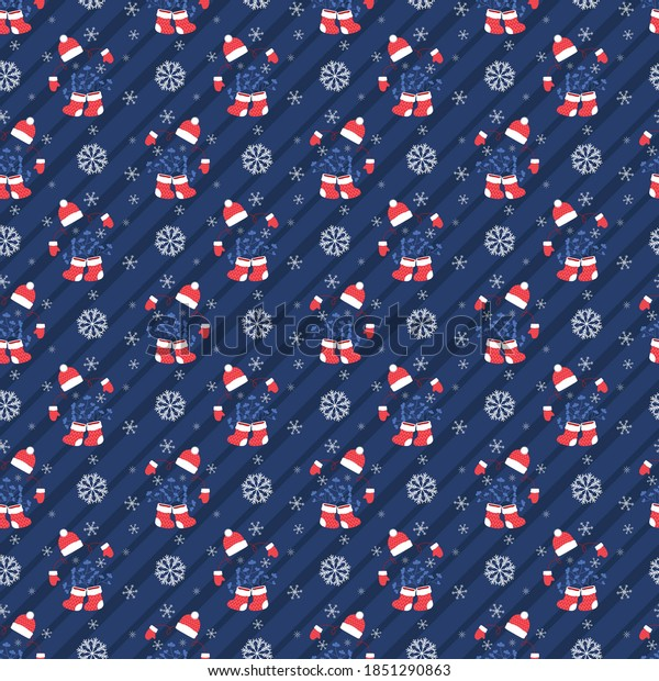 Invisible New Year silhouette, in boots with branches, hat and mittens, blue. Christmas, seamless pattern on a striped diagonal back. Decorative festive background for printing on various goods.