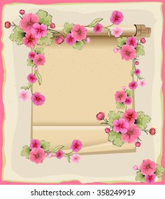 Invitation with beautiful flowers and ancient scroll