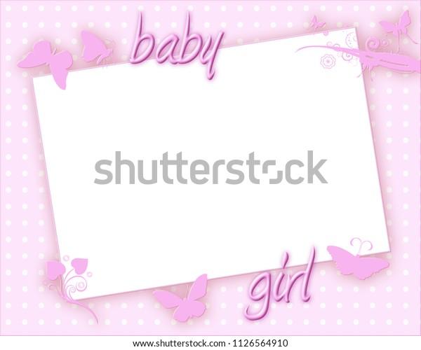 Invitation Card Baptism Christening Newborn Baby Stock