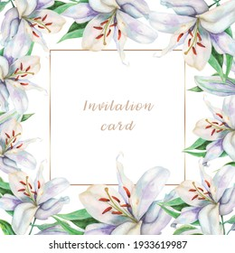 Invitation card with beautiful lilies with golden frame