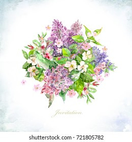 invitation card with bouquet of spring flowers for your design. watercolor painting