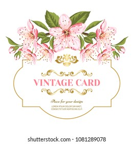 Invitation card of color sacura blossom flowers. Vintage floral invitation for spring or summer bridal shower. Frame card isolated over white background.