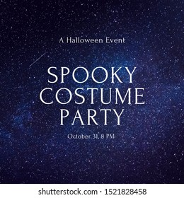 Invitation Card. A Halloween Event Spooky Costume party October 31 at 8pm