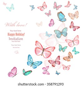 invitation card with lovely flying butterflies on white background. watercolor painting