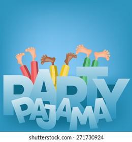 Invitation card. Pajama party concept. Human parts