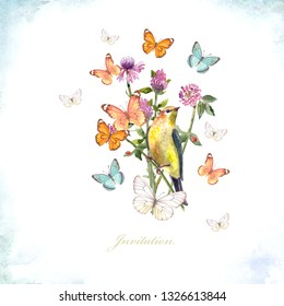 invitation card with a pretty bird in meadow flowers and flying butterflies. watercolor painting