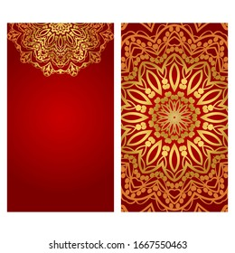 Invitation or Card template with floral mandala pattern. Decorative background for Wedding, greeting cards, Birthday Invitation. The front and rear side.