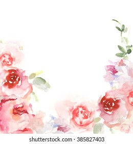 Invitation card with watercolor flowers. Floral hand-painted greeting cards