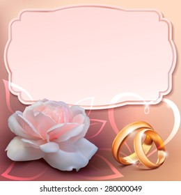 invitation card for wedding with flower and wedding rings