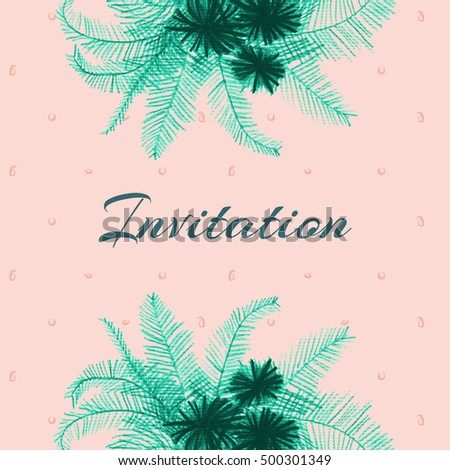 invitation featuring colored pencil drawing palm stock illustration