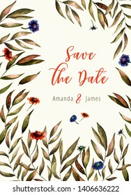 Invitation floral wedding card, watercolor green leaves border. Autumn save the date card